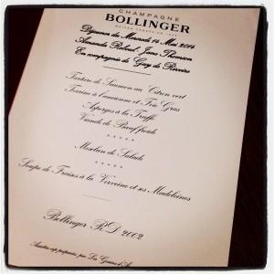 Bollinger menu