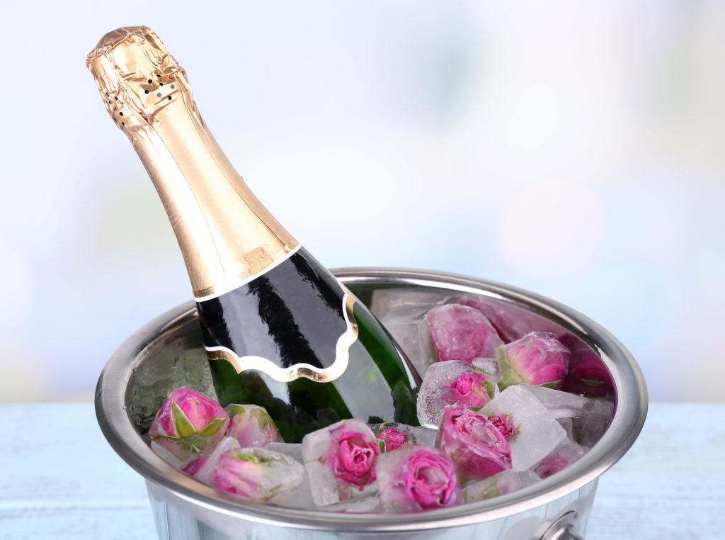 Frozen rose flowers in ice cubes and champagne bottle in bucket